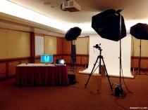 Lighting set up for delegates' profile photo.